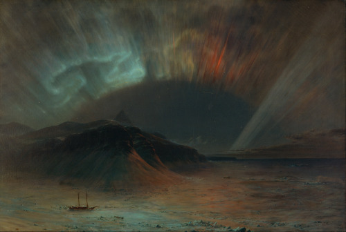 Aurora Borealis is an 1865 painting by Frederic Edwin Church of the Aurora Borealis and the arctic expedition of Dr. Isaac Hayes. The painting measures 56 x 83 1/2 in. (142.3 x 212.2 cm) and is now owned by the Smithsonian American Art Museum. The artist (Frederic Edwin Church) had to convey the experience of watching the aurora without having witnessed it himself.