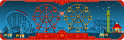 The interactive Google Doodle pays tribute to George Ferris and Valentine's Day. George Ferris was born on Valentine's Day in 1859 and designed the original Ferris Wheel that was chosen for the 1893 Chicago World's Columbian Exposition in order to compete with the Eiffel Tower in stature. Check out how the different animals get on during their date :)
