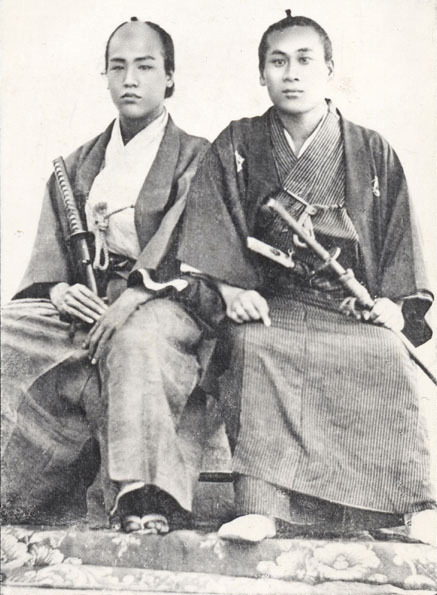thebudosite:  Young samurai leaders: Obata Tokujiro (1842-1905) and Matsuyama Toan (1839-1909) in Edo (Japan) during the late 1860s. Both were leading modernizers in Meiji-Japan.