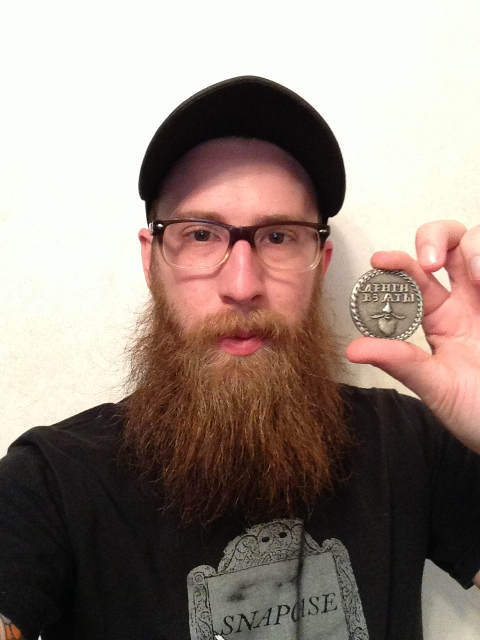 Token received! Thanks guys! -Chris  Chris with his Beard Token.