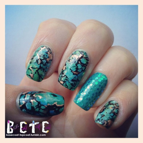 basecoat-topcoat:  Instagram of my TURQUOISE nails for  Nail Challenge Day 21 - inspired by a color check out more pics and what i used to create this look by clicking the link! http://basecoat-topcoat.tumblr.com/post/37996834693/turquoise-nail-challenge-day-21-inspired-by you can follow my personal instagram @ kellyohstein