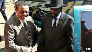 "Sudanese leaders Bashir and Kiir commit to buffer zone The leaders of Sudan and South Sudan have reaffirmed their commitment to setting up a buffer zone on their shared border and resuming oil exports. African Union mediator Thabo Mbeki said both sides had agreed ""unconditionally"" to implement a deal first struck in September. Presidents Omar al-Bashir of Sudan and Salva Kiir of South Sudan smiled and shook hands, but made no comment. The neighbours came close to war after the South's independence in 2011. The talks in the Ethiopian capital, Addis Ababa, followed reports of renewed clashes on the disputed border. African Union mediators will now lay out a timetable for the implementation of all outstanding agreements, according to an official document seen by the BBC. This is expected to be in place by the end of next week, and if the timetable is respected, a demilitarised buffer zone between the two countries will be set up. That would allow the resumption of oil exports from the south and of cross-border trade. Pictured: South Sudan's Salva Kiir (right) was greeted by Ethiopia's prime minister as he arrived for talks"