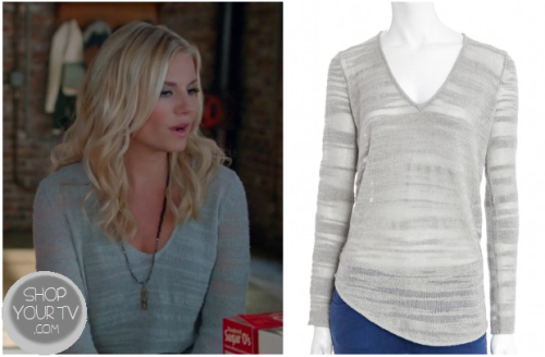 Alex Kerkovich (Elisha Cuthbert) wears this blue burnout v neck pullover in this week's episode of Happy Endings.It is the Helmut Lang Destroyed Boucle Sweater.  You can buy it HERE for $147