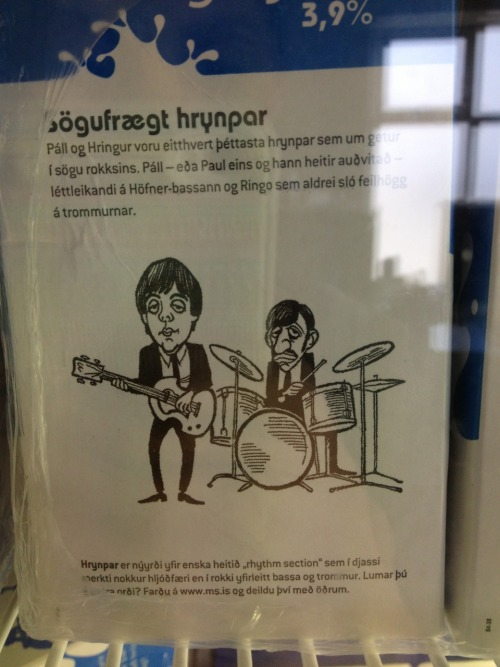 Paul and Ringo on the back of Icelandic milk cartons.