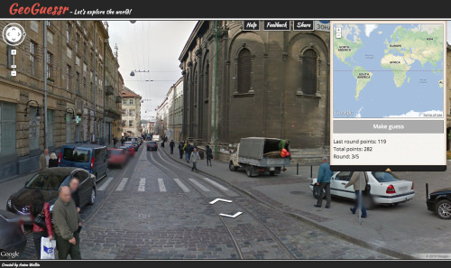 Say goodbye to your afternoon: Anton Wallén has created GeoGuessr—an addicting game based on Google images and maps. (via Quipsologies: Vol. 77 | No. 39)