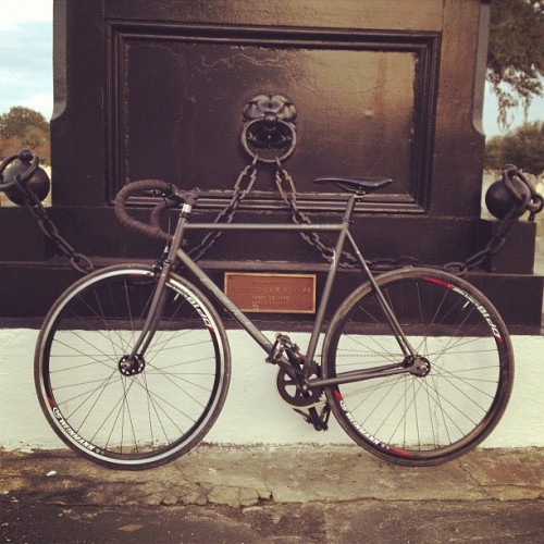 Anyone in downtown Charleston please keep an eye out for this bike & give me a call at 843.714.0879 & let me know if & where you see it so I can take care of the situation with my own two hands. It's a 54' inch All Black KHS Flite 100 Fixed Gear & would have a large Kryptonite lock on it still. It was stolen between last night around 11 pm & 8 am this morning from 2 1/2 Larnes St. downtown. May the Lord be with this individual if I find them first hand. They will need it. Thanks! (at The Ranch aka Labcabincalifornia)