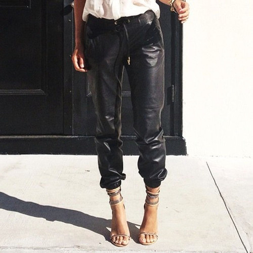 Vince leather pants and Isabel Marant chain heels