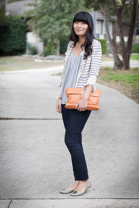 2013. first dates. striped crochet jacket by zara. soft joie tank. verdugo leggings by paige. tory burch reva flats. allibelle mohawk clutch.remember that old movie with drew barrymore called 50 first dates? i saw part of it on cable and quickly got the gist: woman loses memory but falls in love again each day on a date with her husband.sometimes i can't believe that michael and i have been together for over eight years. it doesn't seem like a very long time, and from conversations we've had with friends (single and married), that's a good thing. you want to find that person you can take on 50 or 100 or 500 first dates.thank you M for being my first date on saturday and buying us sushi. i hope i see you again soon. :o)the look | similar jacket | similar tank | similar jeans | similar flats