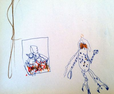 Childhood drawing of the scene from 'Gremlins' where a gremlin gets decapitated and its head lands in a fireplace.
