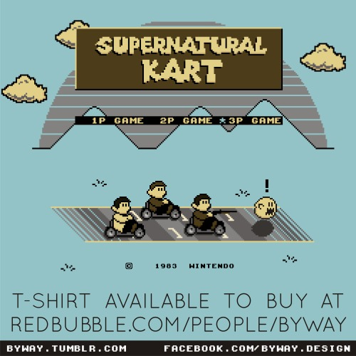 Thank you very much to anybody that bought a copy of my 'Supernatural Kart' T-shirt design from Limiteed.com yesterday, but don't worry if you missed the sale, I've now added the design to my Redbubble store and you can purchase it at www.redbubble.com/people/byway/works/10325686-supernatural-kart!