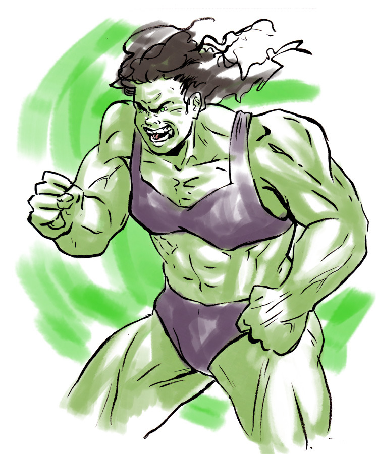 Today's warmup sketch - finally, I reveal HULK!   Its kind of irksome how She-Hulk (who is an awesome character in her own right, don't get me wrong) is still a swimsuit model (kind of literally).  Whoever made her really had never seen women weightlifters/body builders.  But we have a tendency as a (male-dominated) culture (especially in comics) for all women to be slim and petite, or curvy and sexy, even if they're supposed to be powerhouses.  Its an argument thats shown up again and again.   Well, its what this whole blog is kind of about.  A bit.  Anyway, I hope to get LadyVengers back up and going, using my warmup sketch time as an excuse to do some (I got so busy over the last several months finishing up my MFA and doing a bunch of cons, but I'm officially a jobless Master of Comics!)