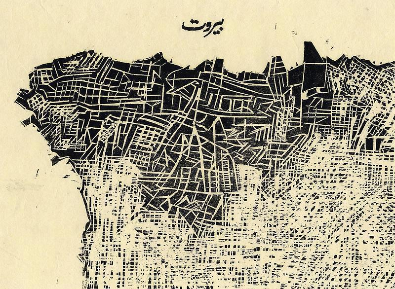 urbanalysis:  ajammc:  Zarina Hashmi's rendering of the map of Beirut  what a grid pattern !