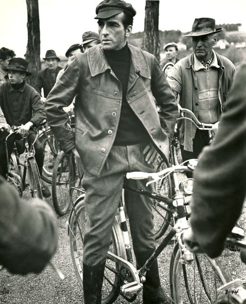 Montgomery Clift rides a bike. For the last time.