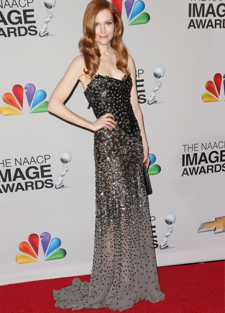 DARBY STANCHFIELD Actress Darby Stanchfield wore Donna Karan Fall 2012 Look 37 to the 44th NAACP Image Awards on February 1, 2013 in Los Angeles, California. Credit: Frederick M. Brown/Getty Images
