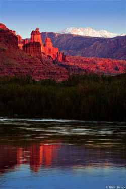 Fisher Towers Reflected in the Colorado River by Rob Dweck on Flickr.
