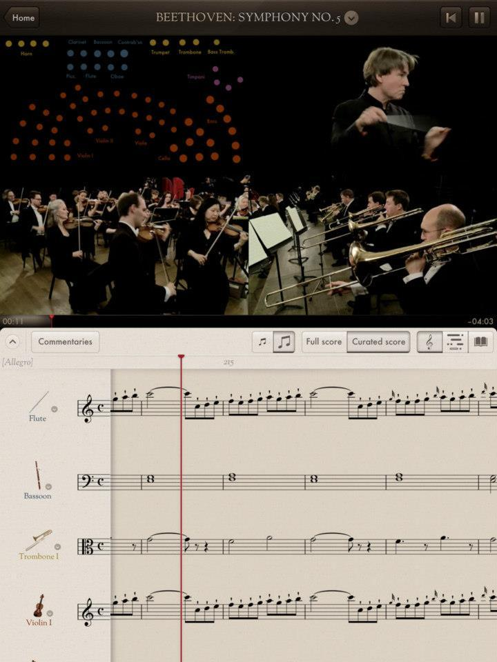 The Orchestra is an extraordinary new app from Touch Press that brings together videos of the London basedPhilharmonia Orchestra playing 8 classical compositions, scrolling musical scores, commentary from conductor Esa-Pekka Salonen and his musicians and an interactive guide to every instrument in the ensemble:http://cmuse.org/news