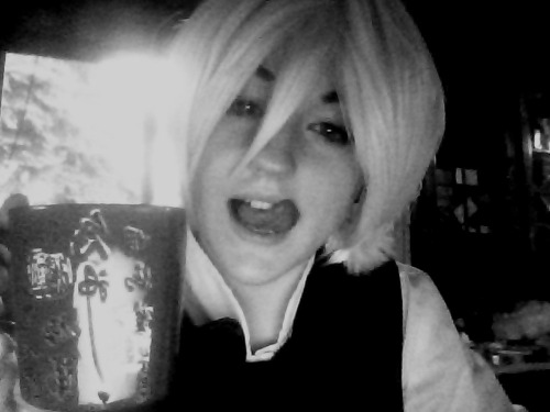 meet-me-on-the-equinox:  me as Alois from Black Butler ^-^ drinking from Amanda's japanese tea cup while she is at work!!