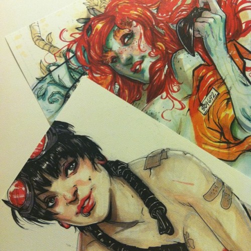 Limited edition prints of these ladies will be at my opening tonight at @glitchgallery / @loosescrewtattoo .  Show starts tonight at 9, see you there! (at Loose Screw Tattoo)