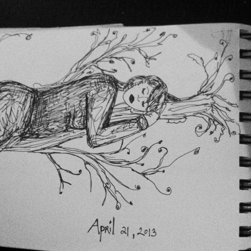 today's #drawing. something about Spring + waking up from strange dreams to find life totally surreal. float on. #sketchbook #art