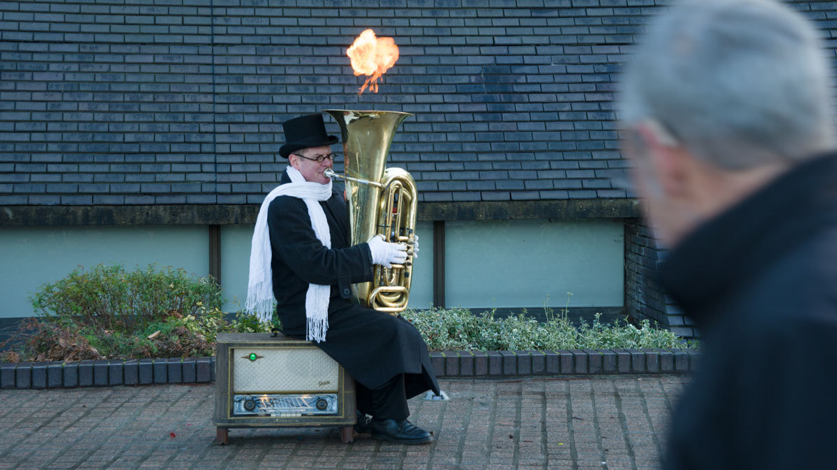 Shot some video of a fire breathing busker on the South Bank in London. Not sure how he does it or how you play the tuba but watch his left thumb.  Video  at porn-as-art.tumblr.com
