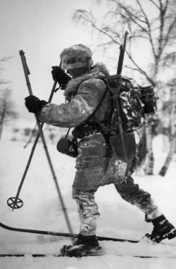 suomisodassa:  Finnish soldier on skis in 1941.