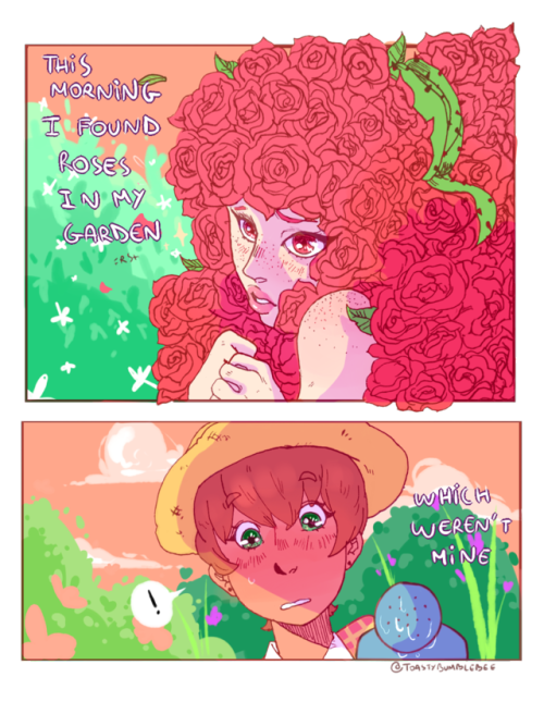 a little thing about the gardener and her plants harold......they are lesbians rosegold plantas art oc original artists on tumblr plants roses pink garden im sorry this looks shitty but I took the line from my sketchbook and sai was being shitty somehow the colors look better on laptop than on mobile....so u better check my art on your laptop lmaooo if you& 039;re on mobile please click on the pic for a better resolution