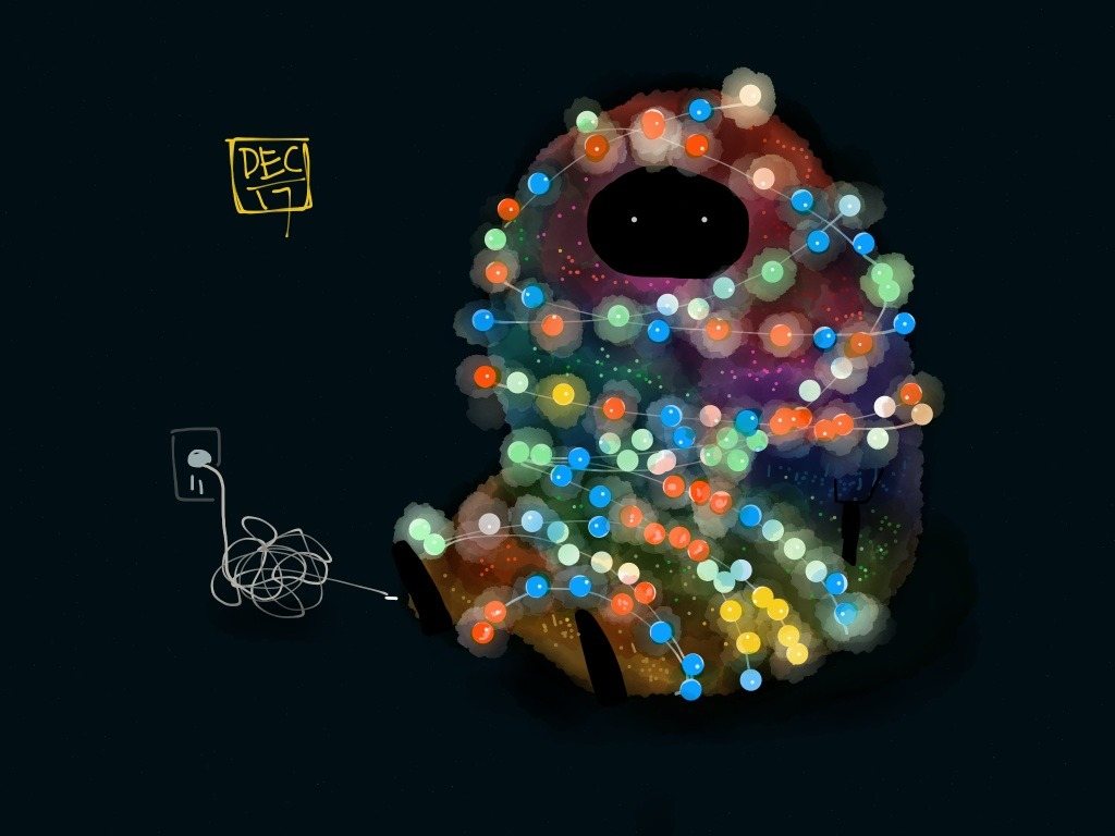 madewithpaper:  HAMO. Help a Monster Out. by zhenonpaper:  Christmas lights attack!
