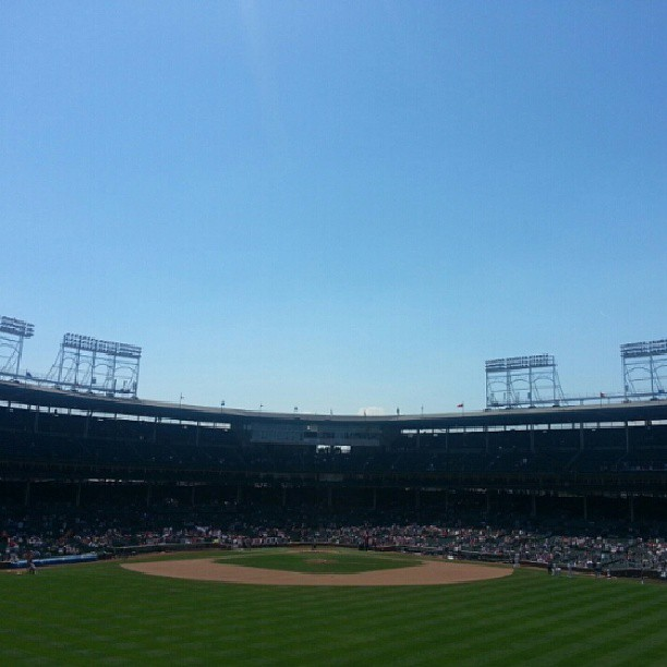 Picture perfect day at Wrigley.  #GoCards #noFilter http://bit.ly/YuJgkw