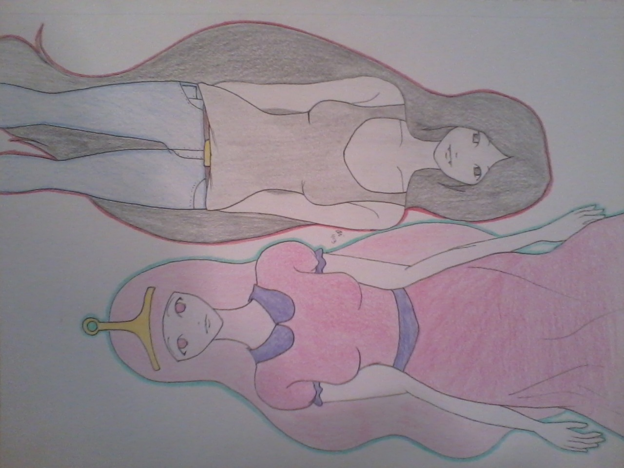 So here's that drawing. Ummm yeah. I shouldn't not colored it.:IBut there yuh go Anon.Adventure time (errr at least two characters)But now sleep.