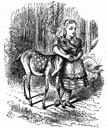 Happy Alice Day (via the Victorian Web), May 4, which is what it is no matter what goofy puns Star Wars fans want to make. This image is one of my favorite scenes from Through the Looking Glass, when Alice and the fawn forget their names and so forget they shouldn't be friends. I borrowed this idea of losing your name and identity for one of the weirder sequences in Summer and Bird.