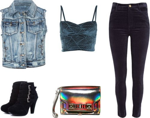 Holographic por julianajace usando navy pantsMiss Selfridge ruched top / Denim vest / River Island navy pants, $32 / Suede ankle booties / Metallic leather handbag