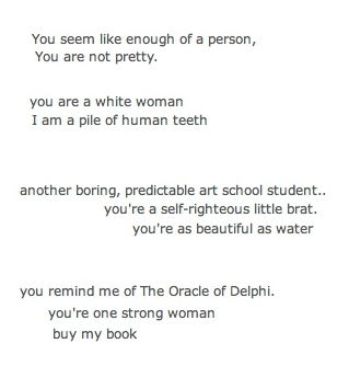 a poem i made using snippets of messages i've received on OKCupid  this is amazing