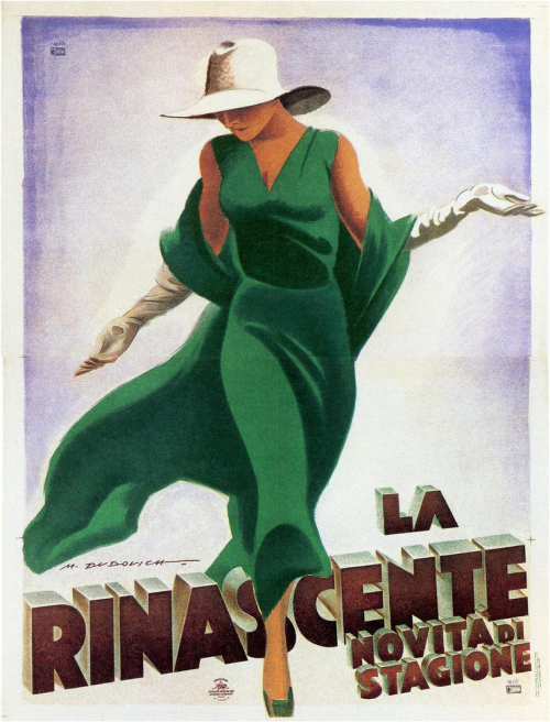 Poster with vintage Italian fashion print from the early 1900's. Also available as cool postcards and greeting cards …!