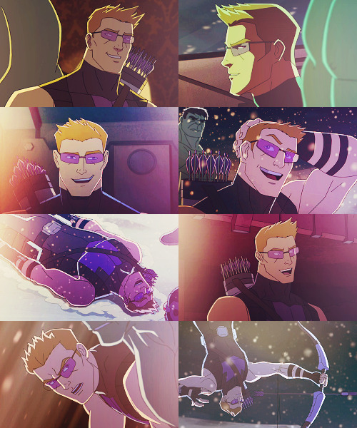 tawghasa:  donutsncoffee:  starkstower:   Hawkeye in Avengers Assemble  i'M LAUGHIN G SO HARD HE'S PRACTICALLY SPARKLING IN 50% OF THIS PHOTOSET  Magical Moon Princess Hawkeye