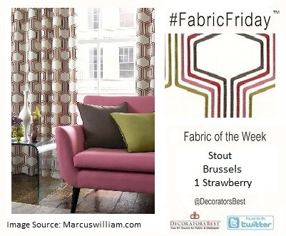 Happy #FabricFriday everyone! This week we're proud to introduce the Intrigue collection from Marcus William. The line is a mix of geometrics, Scandinavian-inspired imagery, and coordinating solids in bright hues   Stout – Brussels 1 Strawberry - Price Per Yard: $85.50