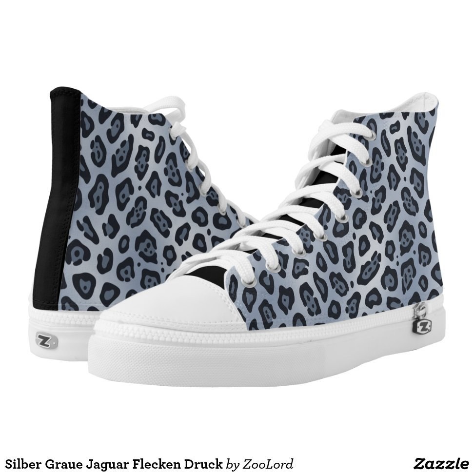 Silber Graue Jaguar Flecken Druck High-Top Sneakers - Unique Canvas Shoes With Interchangeable Tops  External image  Buy This Design Here: Silber Graue Jaguar Flecken Druck High-Top Sneakers Created by Fashion Designer: ZooLord Look sporty, stylish and elegant in a pair of unique custom sneakers! Each pair of custom Low Top ZIPZ Shoes is designed so you can fit your style to any wardrobe, mood, party or occasion. Fashionable sneakers for kids and adults, ZIPZ shoes give you a unique and personalized way to express yourself!Silber Graue Jaguar Flecken Druck High-Top Sneakers Product Information - Unisex sizing: 4-13 Men's | 6-15 Women's - Material and fabric: Durable canvas tops, rubber soles - Buy multiple pairs! ZIPZ shoes are interchangeable, the top cover can be zipped on and off so you can easily switch up your style on the go - Rubber soles are manufactured with extra cushioned insoles and a specially designed arch support system to give your feet a comfortable and healthy fit - Quality you can trust: ZIPZ has been independently tested by SATRA for wear, use, and durability - Additional cost for designing on the tongue of the shoe - Silber Graue Jaguar Flecken Druck High-Top Sneakers are printed in Santa Fe Springs, CA #sneakers#shoes#footwear#style#fashion#sports#fashionista#OOTD#streetwear#fashionblogger