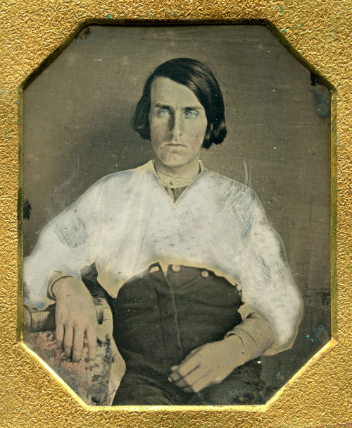 ca. 1845-50's, [hand-tinted daguerreotype portrait of a blue eyed gentleman with an unbuttoned fly] via Ebay