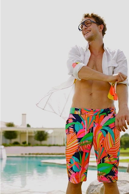 Ben Wadell in the Mr Turk palm print Dylan Short.   Follow Mr Turk on Facebook, Pinterest, Twitter, Instagram, and Trendabl