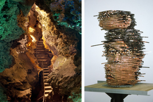 LEFT: Barry Stone, Stairway to Wonderworld, 2012, Archival Inkjet Print RIGHT: Young-Min Kang, Headscanning, 2004, Digital prints on metal apparatus