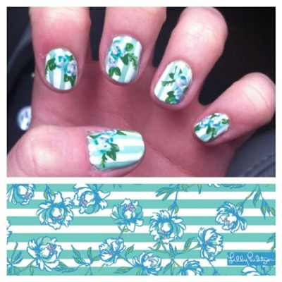 Lilly Pulitzer inspired nails