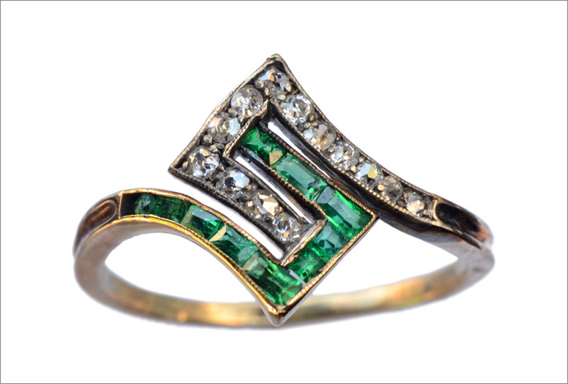 1920s French Art Deco Emerald and Diamond Ring, 18K(in the online shop next week) One of the cooler Deco rings I've seen in a long while.