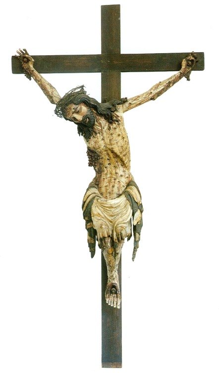 Medieval crucifix formerly from the Corpus Christi chapel in Wroclaw, Poland; now under the collection of the Narodowe Museum, Warsaw; early 14th century.