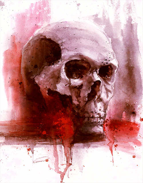 r-a-b-i-s-c-a-n-d-o:  watercolor skull by freezu