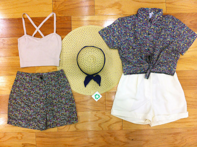 Sun Hats, Crop Tops and High Waist Pleated Shorts. May 2013.
