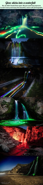 Glow sticks in a waterfall.
