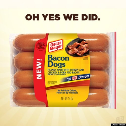 Oscar Mayer Takes Aim at America's Thighs with Bacon Dogs Rollout As if the continued employment of the Weinermobile wasn't enough to keep Oscar Mayer in our good graces the company has introduced bacon hot dogs. So much for getting into swimsuit shape for Memorial Day.