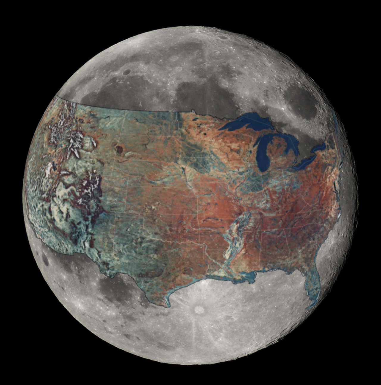 The continental U.S. overlaid on the Moon, for your daily dose of perspective. Whoa. Compare the size of the craters to our biggest cities! To take your dose of perspective to the next level, check out this video from Veritasium on just how far away the Moon is from the Earth (Hint: Much farther than most people think):  (via io9)