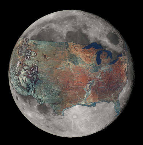 "archiemcphee:  Have you ever wondered exactly how big the moon is? We love it when otherwise inconceivably large things are put into a comprehensible perspective. Redditor boredboarder8 wanted to better understand the size of the moon. Armed with the knowledge that ""the greatest distance between two points within the contiguous U.S. is 2,892 miles (stretching from Point Arena, CA to West Quoddy Head, ME*)"" and that the circumference of the Moon is 6,784 miles, boredboarder8 cleverly placed one measurement atop the other to create this rough approximation.  ""It was difficult for me to fathom the size of the moon, thus inspiring the creation of this map. For me, this map puts the scale of the moon much smaller than I previously imagined. But it's really interesting hearing how others (already grasping the size of the moon) now see the US as larger.  It was one definitely a weird challenge to take a ""flat"" map of something on a sphere and project it onto a smaller sphere… Certainly take it only as an approximation, but what intrigued me the most is that the distance spanning the continental United States is roughly equal to a little less than half the circumference of the moon.""  So what do you think, does this awesome image make the moon seem larger or smaller than you thought?  [via io9]"
