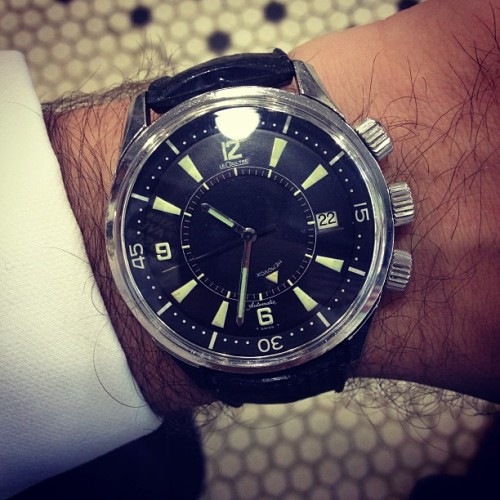 hodinkee:  68's finest from @jaegerlecoultre today.  (at Neighborhood Cut and Shave.  Barber Shop)