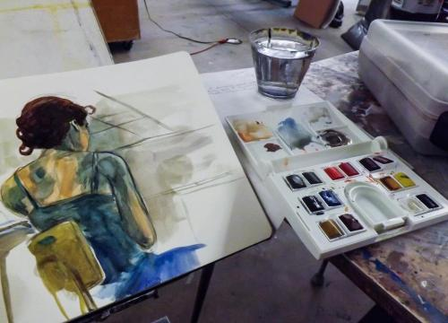 other-side-of-the-universe:  Watercolors during my recent figure drawing session.